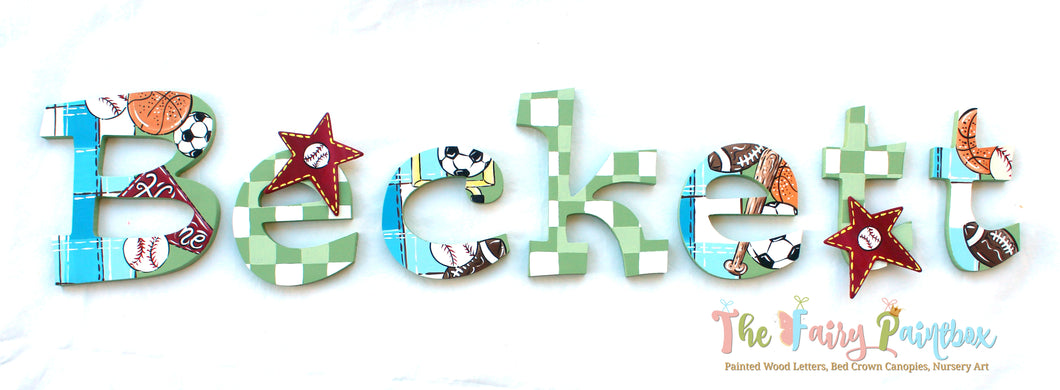 Sports Fan Nursery Room Wall Letters - Sports Fan Kids Room Painted Wood Letters