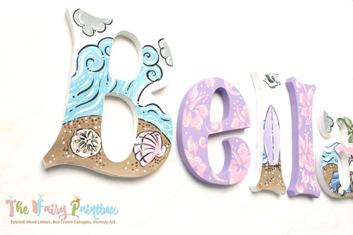 Beach Baby Nursery Room Wall Letters - Surfer Girl Painted Wood Letters