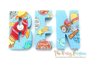 Rocket Ship Nursery Room Wall Letters - Outer Space Painted Wood Letters - Light Blue