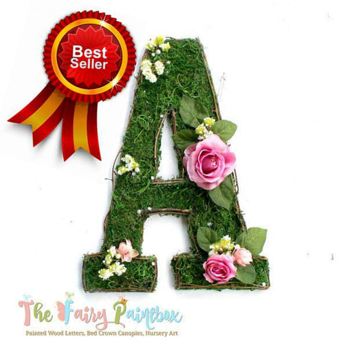 Pink Blooming Woodland Rose Nursery Room Wall Letters - Moss Wall Letters
