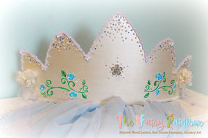 Pearl 3D Princess Crown Canopy - Pearlized Wall Crown Canopy