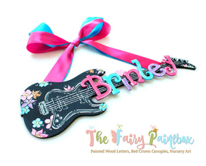 Girls Guitar Nursery Room Sign - Personalized Flower Guitar Kids Room Wall Sign