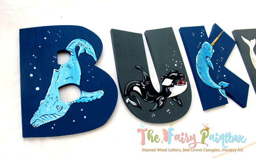 Whale Nursery Room Wall Letters - Whale Kids Room Painted Wood Letters