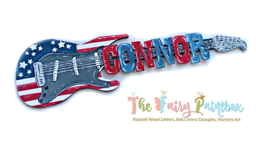 American Flag Guitar Baby Name Nursery Room Sign - Personalized Guitar Kids Room Wall Sign