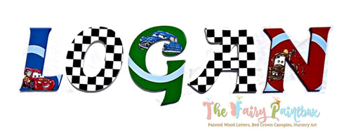 Race Cars Nursery Room Wall Letters - Race Cars Kids Room Painted Wood Letters
