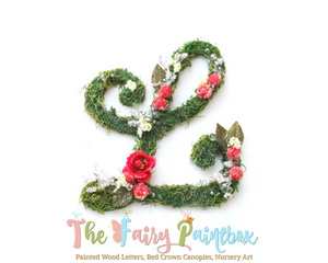 Blooming Woodland Rose Christmas Nursery Room Wall Letters - Moss Wall Letters