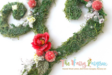 Blooming Woodland Cranberry Rose Nursery Room Wall Letters - Moss Wall Letters