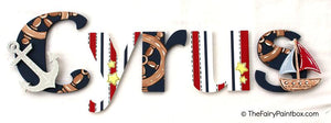 Nautical Nights Nursery Room Wall Letters - Nautical Painted Wood Letters