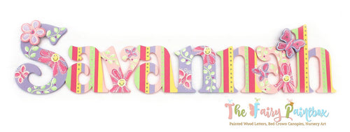Smiling Daisy Nursery Room Wall Letters - Daisy Garden Kids Room Painted Wood Letters