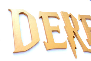 Wizard Academy Nursery Room Wall Letters - Wizard Kids Room Painted Wood Letters - Metallic Gold