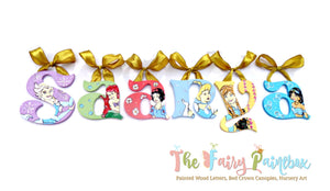 Disney Princess Nursery Room Wall Letters - Princess Kids Room Painted Wood Letters