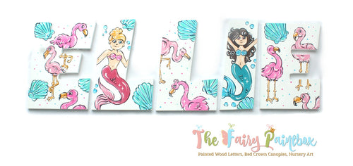 Mermaid Flamingo Island Nursery Room Wall Letters - Flamingo Kids Room Painted Wood Letters