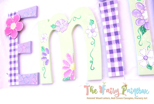 Gingham Garden Nursery Room Wall Letters - Gingham Garden Painted Wood Letters