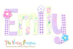 Lavender Gingham Painted Letters - Daisy Nursery Decor Letters - Floral Baby Name Sign