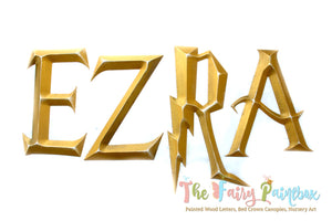 3-D Wizard Academy Prismatic Nursery Room Wall Letters - Wizard Kids Room Prismatic Hanging Letters - Gold
