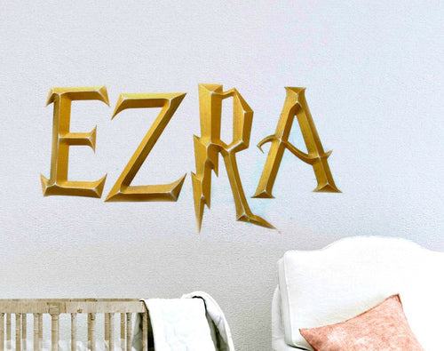 Prismatic Wizard Academy Kids Room Decor Hanging Wall Letters - Gold