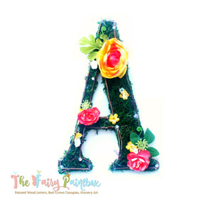 Yellow Blooming Woodland Rose Nursery Wall Letters - Moss Wall Letters