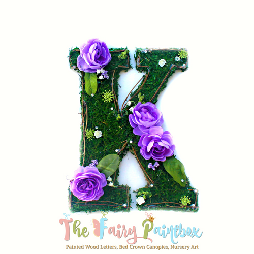 Purple Blooming Woodland Rose Nursery Wall Letters - Moss Wall Letters - Floral Wall Letters - Kids Room Wood Letters