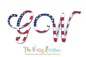 Distressed Script American Flag Nursery Room Wall Letters - Patriotic USA Kids Room Painted Wood Letters