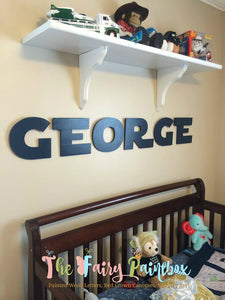 Star Jedi Wars Nursery Room Wall Letters - Galaxy Kids Room Painted Wood Letters - Blue