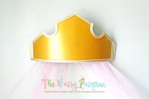 Sleeping Beauty 3D Princess Crown Canopy - Gold Princess Nursery Room Crown Canopy