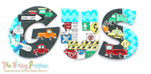 Things That Go Nursery Room Wall Letters - Automobile Kids Room Painted Wood Letters