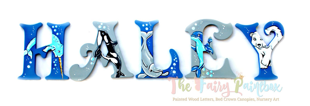 Sea World Nursery Room Wall Letters - Aquarium Kids Room Painted Wood Letters