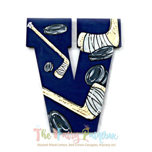 Hockey Nursery Room Wall Letters - Hockey Kids Room Painted Wood Letters - Blue