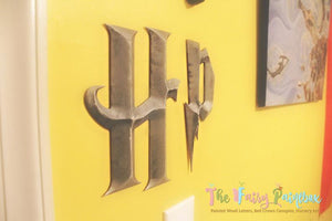 3-D Wizard Academy Prismatic Nursery Room Wall Letters - Wizard Kids Room Prismatic Hanging Letters - Silver