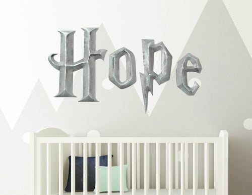 Prismatic Wizard Academy Kids Room Decor Hanging Wall Letters - Silver