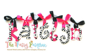 Funky Zebra Baby Room Decor Hanging Wall Letters - Safari Kids Room Decor Painted Wood Letters - Hot Pink/Black
