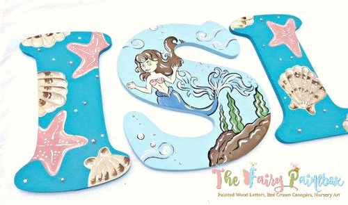 Aqua Mermaid Nursery Letters - Seashell Mermaid Painted Letters - Mermaid Nursery Decor - Wood Letters