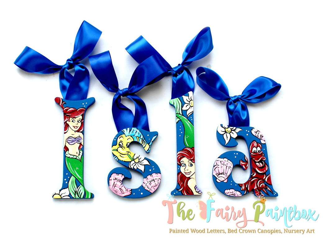 Little Mermaid Nursery Room Wall Letters - Little Mermaid Kids Room Painted Wood Letters