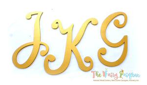 Pure Gold Nursery Room Wall Letters - Pure Gold Kids Room Painted Wood Letters