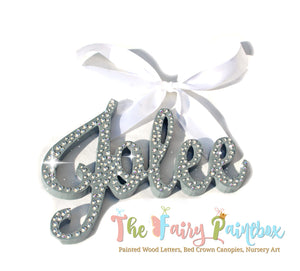Sparkle Nursery Room Wall Letters - Swarovski Crystal Painted Wood Letters - Gray Diamond