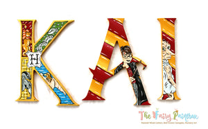 Wizard Academy Nursery Room Wall Letters - Wizard Kids Room Painted Wood Letters - Gryffindor