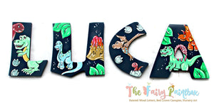 Jurassic Dinosaur Nursery Room Wall Letters - Dinosaur Kids Room Painted Wood Letters