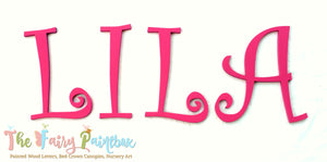 Curlz Nursery Room Wall Letters - Curlz Painted Wood Letters - Pink Wall Letters