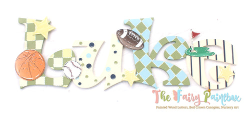 Sports Painted Letters - Sports Nursery Decor Letters - Sports Baby Name Sign