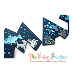 Baby Shark Nursery Room Wall Letters - Baby Shark Painted Wood Letters