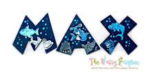 Baby Shark Nursery Room Wall Letters - Cute Shark Painted Wood Letters