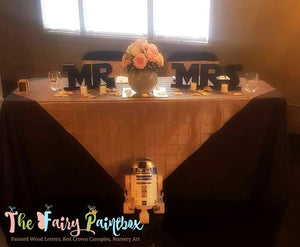 Star Jedi Wars MR and MRS Sweetheart Table Signs - MR MRS Sweetheart Table Star Wars Wedding Signs - Set of 2 - Silver