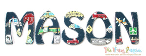 Planes, Trains and Automobiles Nursery Room Wall Letters - Cars Kids Room Painted Wood Letters
