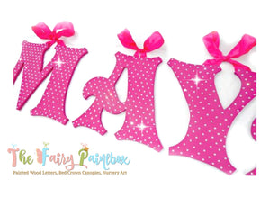 Sparkle Nursery Room Wall Letters - Swarovski Crystal Painted Wood Letters - Fuchsia Pink