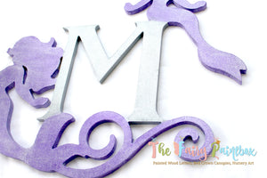 Glitter Mermaid Monogram Wall Hanging - Swirly Mermaid Nursery Art - Mermaid Monogram Letter - Mermaid Wedding Centerpiece - Wood Sign