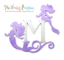 Glitter Monogram Mermaid Nursery Room Sign - Personalized Mermaid Kids Room Sign - Purple/Silver
