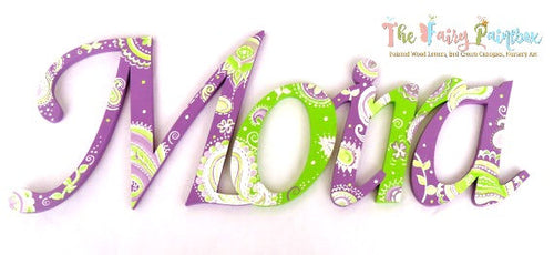 Lime Green Paisley Painted Letters - Butterfly Nursery Letters - Paisley Nursery Decor - Girls Nursery Decor - Pink Nursery Decor - Wood Letters