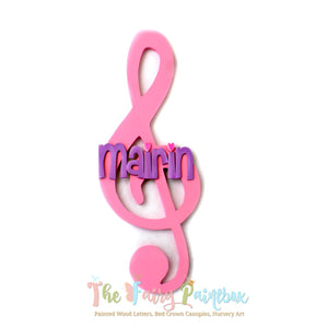 Musical Treble Clef Baby Name Nursery Room Sign - Personalized Treble Clef Kids Room Sign