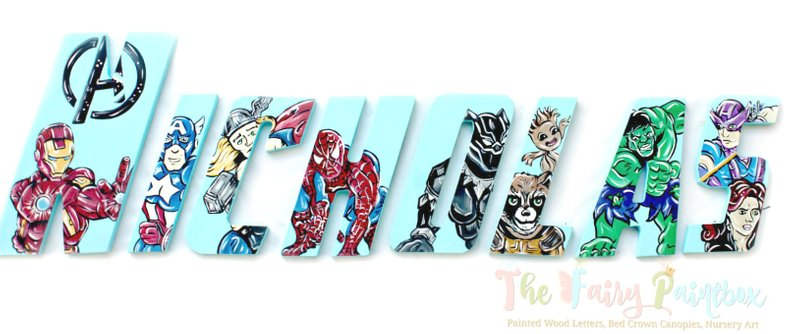 Avenger Nursery Room Wall Letters - Avenger Super Hero Kids Room Painted Wood Letters