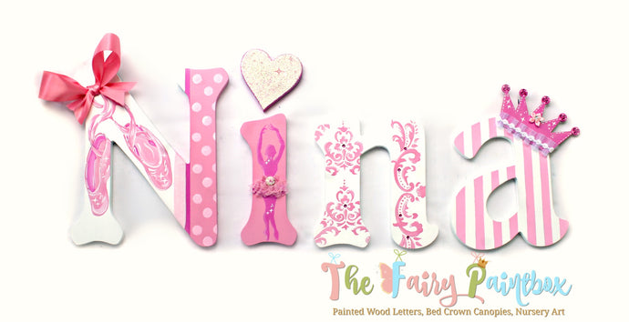 Sweet Ballerina Nursery Room Wall Letters - Ballerina Kids Room Painted Wood Letters